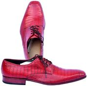 Innovative Torch Red Genuine Crocodile Leather Pointed Toe Blucher Men Shoes