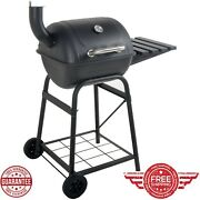 Mini Barrel Grill Portable Bbq Charcoal Smoker Steel Outdoor With Side Shelf
