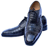 Perfect For Meetings Black Rock Double Sole Sterling Crocodile Leather Men Shoes