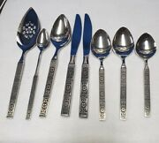 Oneida Silver Isabella Stainless 8 Piece Lot, Pie, 2 Knife, Sugar, 2 Table Tea+