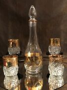 Vintage Barware Gold Lace Edging Decanter And 4 Goldtrim Cut Glass Lowball Glasses
