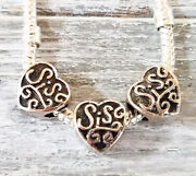 40 Silver Sis Charms - Sister Hearts - European Style Beads Lot Diy Jewelry Gift