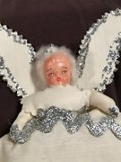 Vintage Antique Chalkware / Bisque Angel Christmas Tree Topper