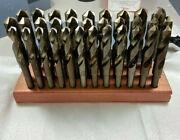 32 Pc Drill Set 1/2 -1 By 64s Cobalt Sandd, Silver And Deming, Sandd Hss Wood Block
