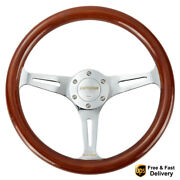 14and039and039 Universal Wooden Steering Wheel Wood Grain Trim Silver Chrome Spoke 350mm