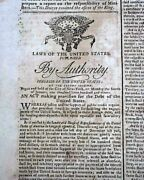 Historic Funding Act Of 1790 Congress George Washington Signs 1790 Old Newspaper