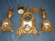Vintage Imperial Brass Mantle Clock And Candlesticks Italy