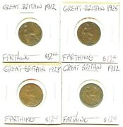 1912-1925-1928-1932 - Great Britain - 4 Coin Lot - Farthings -very Nice
