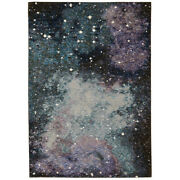 Sphinx Blue Contemporary Machine Made Stars Gas Sky Area Rug Abstract 0958a
