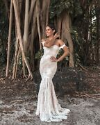 Handmade Tailored Wedding Dress From French Lace Mermaid Corset Style