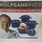 New Wolfgang Puck 8 Piece Cast Iron Enamel Cocotte Set Blue Stainless Steel Knob