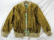 - Insanely-rare 6500 Gold Sequin Bomber Track Jacket Worn Once M