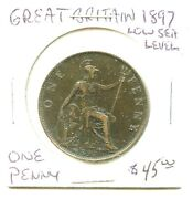 1897 - Great Britain - Low Sea Level - Penny - Very Nice Coin