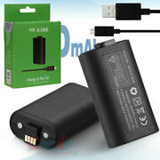 2x For Xbox One X S Play And Charge Kit Rechargeable Battery 1400mah + Usb Cable