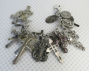 Amazing 197 Gm 23 Charm Christian Cross Medals Charms Sterling Silver Bracelet