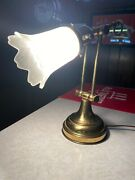 Antique Brass Desk/reading Two-way Adjustable Lamp With White Milk Glass Globe