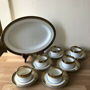 Fitz And Floyd Platine Dand039or 6 Cups And Saucers And Platter