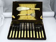 6 Place Setting Epns England Set W/serving Fish Utencils Silver Plate Boxed