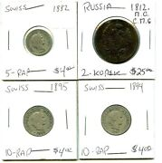 1812.n.c. C.n.g. - 1882 - 1894 - 1895 -russia/swiss - 4 Coin Lot - Diff. Variety