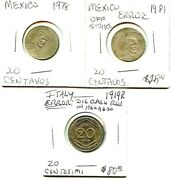 1981 - 1919-r - Mexico/italy. - 3 Coin Lot - Diff. Variety