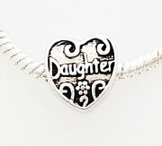20 50 Silver Daughter Heart Charms - European Style Beads - Diy Jewelry Gift