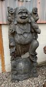 Large Hand Carved Buddha Solid Suar Wood Carving Sculpture From Bali Indonesia