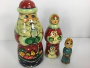 Vintage Russian Nesting Dolls Matryoshka Signed Father Frost 3 Set 6.5 Tall