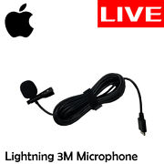 Perfect Clip Type Lapel Lightning Microphone Record Personal Live Cable 3m