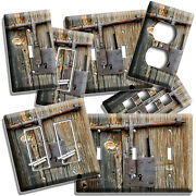 Rusted Burn Door Lock Light Switch Outlet Wall Plates Room Rustic Country Decor