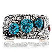 2450tag Collectable Certified Silver Navajo Coral Turquoise Signed Cuff Bracel