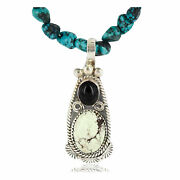 500tag Certified Silver Navajo Gaspeite, Turquoise Black Onyx Necklace Andamp P