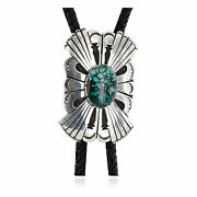1800tag Certified Leather Silver Navajo Natural Turquoise Native Bolo Tie 2441
