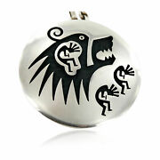 1750tag Kokopelli Bear Certified Hopi Silver Signed Pin Pendant Necklace 15025