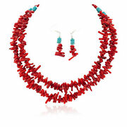 600tag 2 Strand Certified Silver Navajo Hooks Coral Earrings Necklace Set 1701