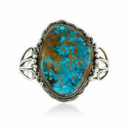 2780tag Certified Silver Navajo Turquoise Native American Cuff Bracelet 12674