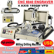 Usb 4axis 6040z Cnc Router Engraving Machine Metal Mill Cutting 1.5kw 24000rpm