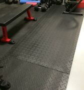 25pcs 4x6and039 3/4 Rubber Floor Gym Mats - Commercial Crossfit 620sf Diamond Plate
