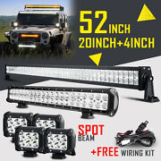52inch Led Light Bar Combo +20in +4 Pods Offroad Suv 4wd Atv For Ford Jeep