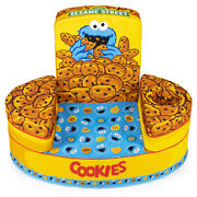 Marshmallow Furniture Flip-see-do Comfy Foam Toddler Kid's Chair, Cookie Monster