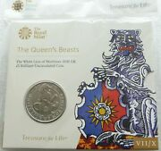 2020 Royal Mint Queens Beasts White Lion Of Mortimer Bu Andpound5 Five Pound Coin Pack
