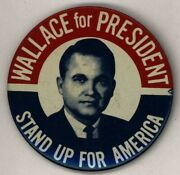 1968 Wallace For President 3 Pinback Button