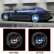 4x Floating Led Illuminated Hub Light Wheel Caps Light Fit For Porsche 65mm 76mm