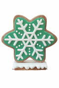 41 Iced Green Gingerbread Snowflake Style 1 Winter Holiday Christmas Display