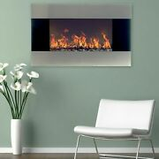 Stainless Steel Electric Fireplace With Wall Mount And Remote 35 X 22 1500w