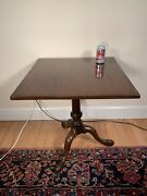 Vintage Kittinger Williamsburg Colonial Queen Anne Walnut Square Top Tea Table