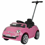 Best Ride On Cars 2-in-1 Fiat 500 Model Baby Toddler Toy Push Car Stroller, Pink