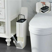 Narrow Trash Can Toilet Brush Set Bathroom Home Dustbin Storage Box Container 3l