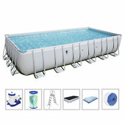 Bestway 56542e 24and039 X 12and039 X 52 Power Steel Frame Above Ground Swimming Pool Set