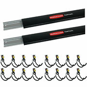 Rubbermaid Fast Track Wall Mount Storage Rail 2 Pack And Utility Hooks 16 Pack