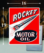 19 X 16 Rocket Motor Oil Shield Gas Vinyl Decal Lubester Oil Pump Can Lubster